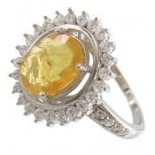 انگشتر یاقوت زرد آفریقایی مرغوب طرح خورشید زنانه