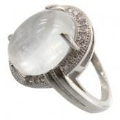 انگشتر دُر نجف درشت الماس نشان زنانه