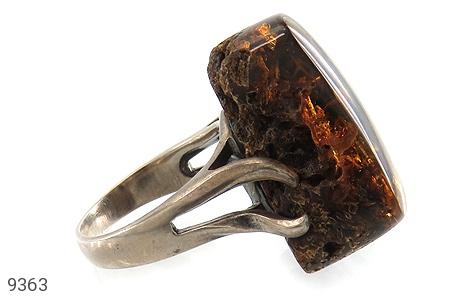 انگشتر کهربا بولونی لهستان تراش طبیعی تیره درشت زنانه - تصویر 2