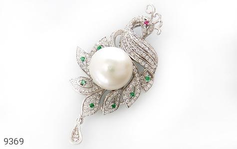 مدال مروارید درخشان طرح طاووس زنانه - عکس 1