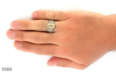 انگشتر سیترین خوش رنگ طرح دورچنگ مردانه - تصویر 6