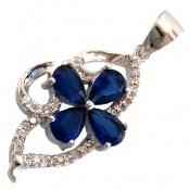 مدال نقره طرح گلبرگ آبی زینتی زنانه