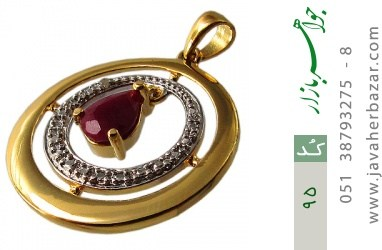 مدال یاقوت سرخ طرح دایره زنانه - کد 95