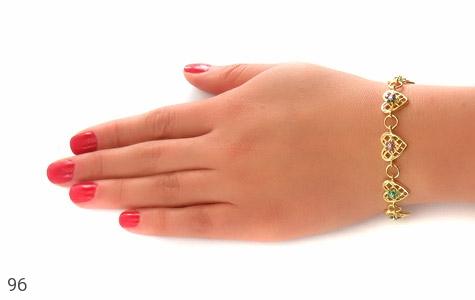 دستبند زمرد و یاقوت سرخ و کبود طرح قلب مانی زنانه - تصویر 6
