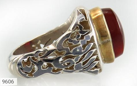 انگشتر عقیق یمن حکاکی و قلم زنی الملک لله الواحد القهار دست ساز - تصویر 2