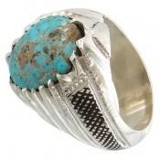 انگشتر فیروزه نیشابوری شجر درشت خوش رنگ مردانه