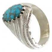 انگشتر فیروزه نیشابوری زیبا و خوش رنگ مردانه