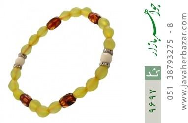 دستبند کهربا و مرجان و شاه مقصود طرح افشان زنانه - کد 9697
