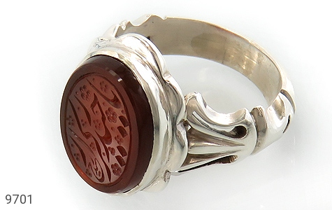 انگشتر عقیق یمن حکاکی یا حیدر کرار استاد حیدر رکاب دست ساز - عکس 1