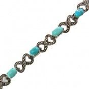 دستبند مارکازیت و فیروزه نیشابوری خوش رنگ خوش طبع زنانه