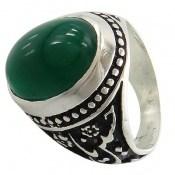 انگشتر عقیق سبز درشت قلم زنی یاحسین یارضا مردانه
