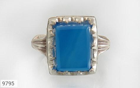 انگشتر عقیق آبی برزیلی خوش رنگ درشت مردانه - تصویر 2