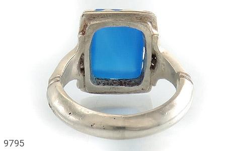 انگشتر عقیق آبی برزیلی خوش رنگ درشت مردانه - تصویر 4