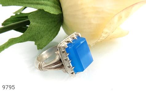 انگشتر عقیق آبی برزیلی خوش رنگ درشت مردانه - تصویر 6