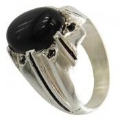 انگشتر عقیق سیاه خوش رنگ مردانه