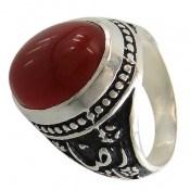 انگشتر عقیق قرمز درشت رکاب قلمزنی یاحسین یارضا مردانه