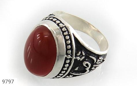 انگشتر عقیق قرمز درشت رکاب قلمزنی یاحسین یارضا مردانه - عکس 1