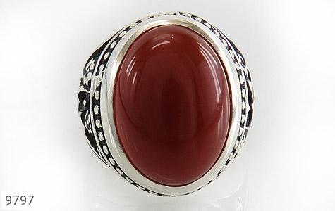 انگشتر عقیق قرمز درشت رکاب قلمزنی یاحسین یارضا مردانه - تصویر 2