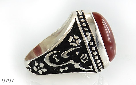 انگشتر عقیق قرمز درشت رکاب قلمزنی یاحسین یارضا مردانه - عکس 3