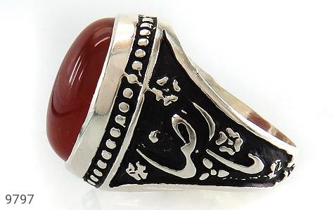 انگشتر عقیق قرمز درشت رکاب قلمزنی یاحسین یارضا مردانه - تصویر 4
