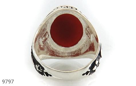 انگشتر عقیق قرمز درشت رکاب قلمزنی یاحسین یارضا مردانه - عکس 5