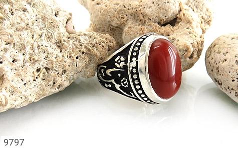 انگشتر عقیق قرمز درشت رکاب قلمزنی یاحسین یارضا مردانه - تصویر 6