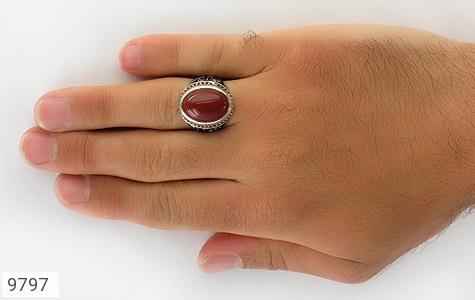 انگشتر عقیق قرمز درشت رکاب قلمزنی یاحسین یارضا مردانه - تصویر 8