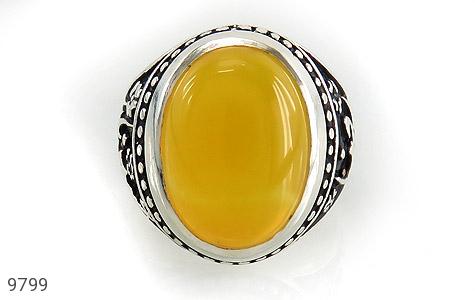 انگشتر عقیق حکاکی شرف الشمس قلم زنی یا رضا یا حسین - تصویر 2