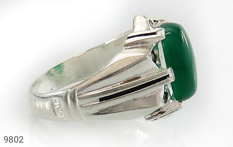 انگشتر عقیق سبز خوش رنگ مردانه - عکس 3