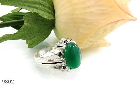 انگشتر عقیق سبز خوش رنگ مردانه - عکس 5