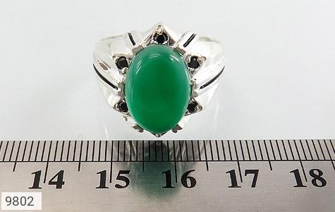انگشتر عقیق سبز خوش رنگ مردانه - تصویر 6