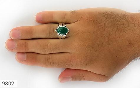 انگشتر عقیق سبز خوش رنگ مردانه - عکس 7