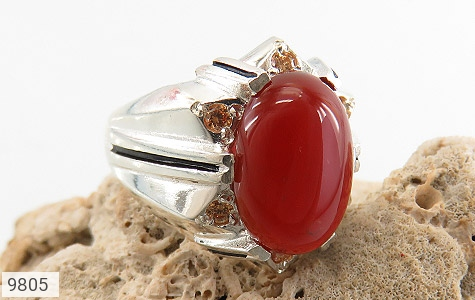 انگشتر عقیق سرخ خوش رنگ مردانه - عکس 5