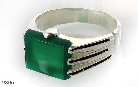 انگشتر عقیق سبز خوش رنگ صفوی مردانه - عکس 1