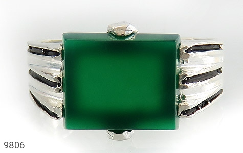 انگشتر عقیق سبز خوش رنگ صفوی مردانه - تصویر 2