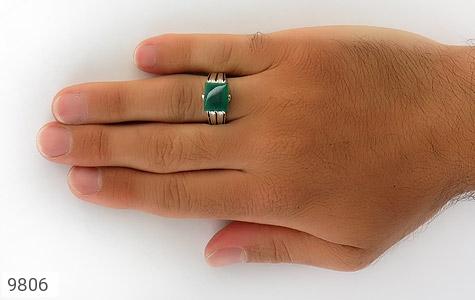 انگشتر عقیق سبز خوش رنگ صفوی مردانه - عکس 7