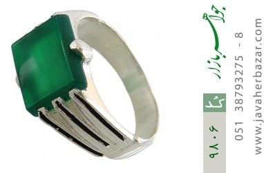 انگشتر عقیق سبز خوش رنگ صفوی مردانه - کد 9806