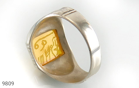 انگشتر عقیق حکاکی شرف الشمس رکاب دست ساز - عکس 5