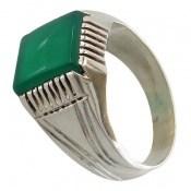 انگشتر عقیق سبز دست ساز مردانه