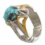 انگشتر فیروزه نیشابوری خوش رنگ شجر مردانه