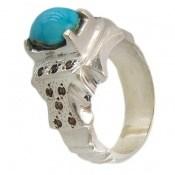 انگشتر فیروزه نیشابوری خوش رنگ مردانه