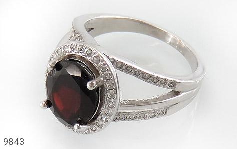 انگشتر یاقوت خوش رنگ طرح دو حلقه ای زنانه - عکس 1