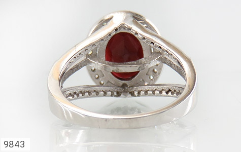 انگشتر یاقوت خوش رنگ طرح دو حلقه ای زنانه - تصویر 4