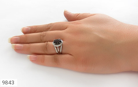 انگشتر یاقوت خوش رنگ طرح دو حلقه ای زنانه - عکس 7