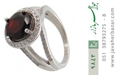 انگشتر یاقوت خوش رنگ طرح دو حلقه ای زنانه - کد 9843