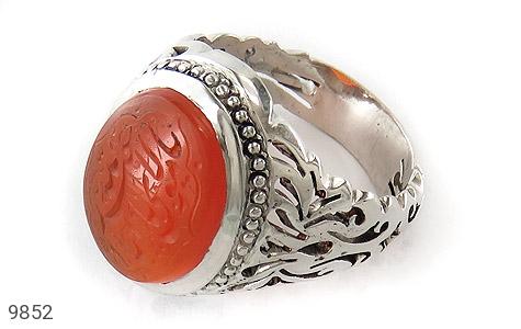انگشتر عقیق یمن حکاکی یا مولای یا ابا عبدلله استاد فرج رکاب دست ساز - عکس 1
