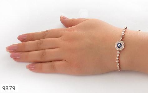 دستبند نقره چشم زخم طرح آسانسوری زنانه - تصویر 6