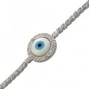 دستبند نقره چشم زخم طرح گل آسانسوری زنانه