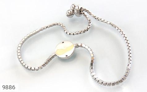 دستبند نقره چشم زخم طرح گل آسانسوری زنانه - تصویر 2