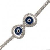 دستبند نقره چشم زخم آسانسوری زنانه